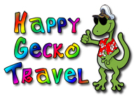 Logo of Happy Gecko Travel, the exclusive travel partner of the Walk With No Shoes trip series