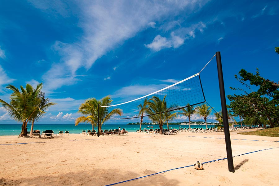 Walk With No Shoes to beach volleyball at the Hotel RIU Palace, Negril Jamaica